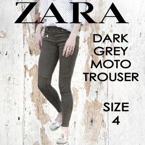 ZARA Moto Trouser Dark Grey